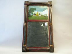 Painted Split Baluster Mirror with Reverse-Painted Tablet.