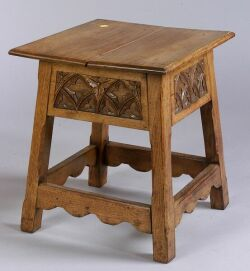 Small Carved Oak Low Table