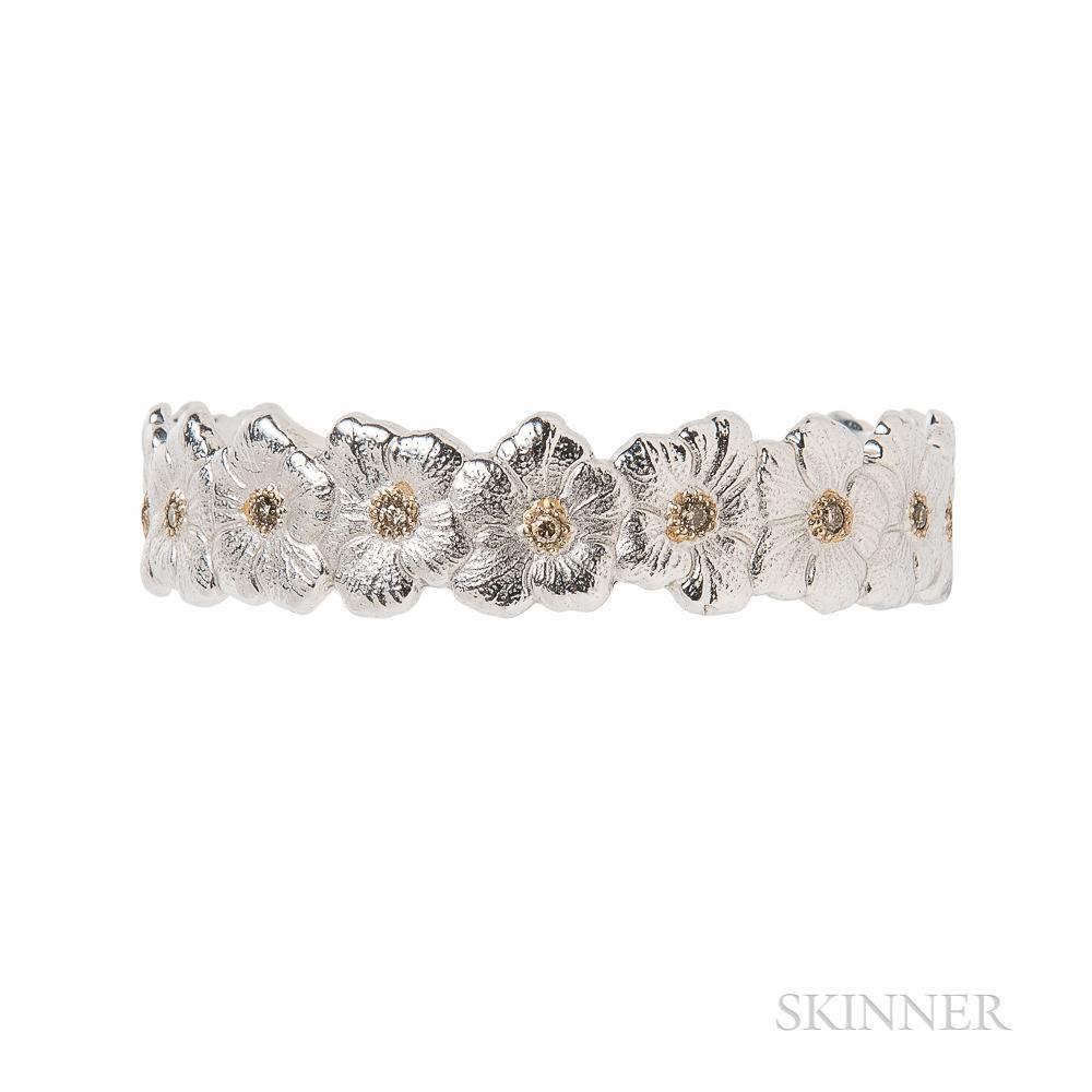 Sterling Silver and Brown Diamond Gardenia Bracelet, Buccellati