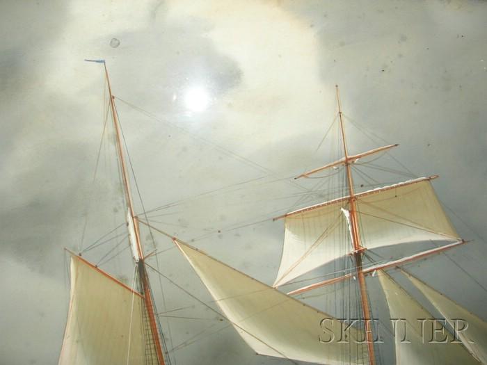 Antonio De Simone (Italian, 1851-1915)      Steamer Yacht Xarifa   Under Gray Skies.