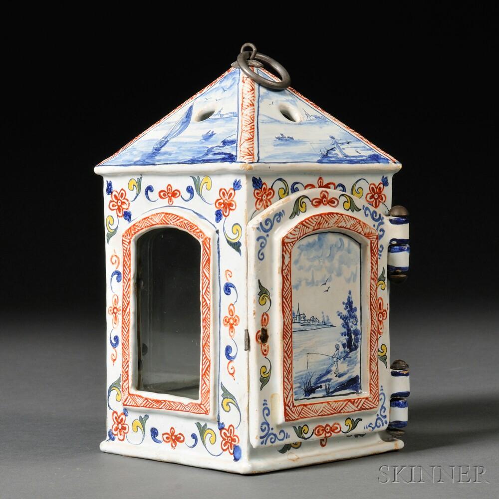 Delft Faience-glazed Ceramic Candle Lantern