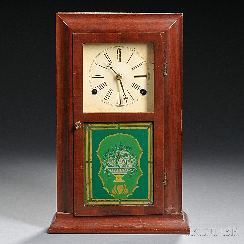 Mahogany Smith & Goodrich Miniature Reverse Ogee Shelf Clock