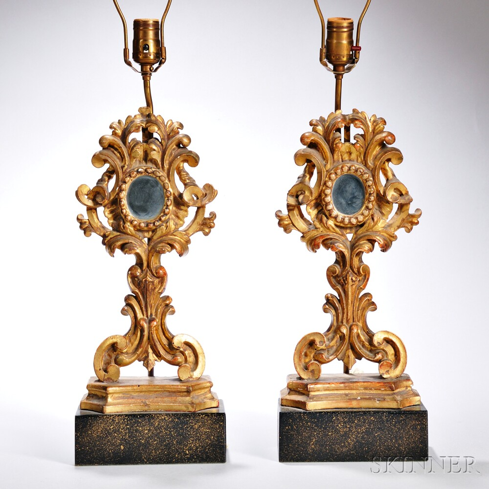 Pair of Italian Carved and Giltwood Lamp Bases