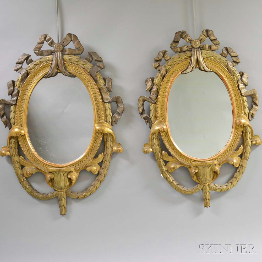 Pair of French LXVI-Style Giltwood Mirrors