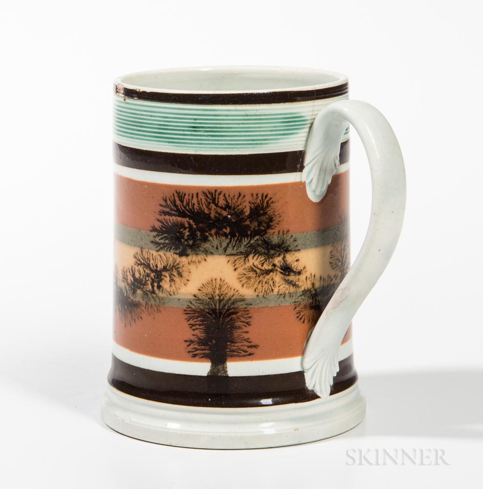 Mocha Pearlware and Slip-decorated Pint Mug