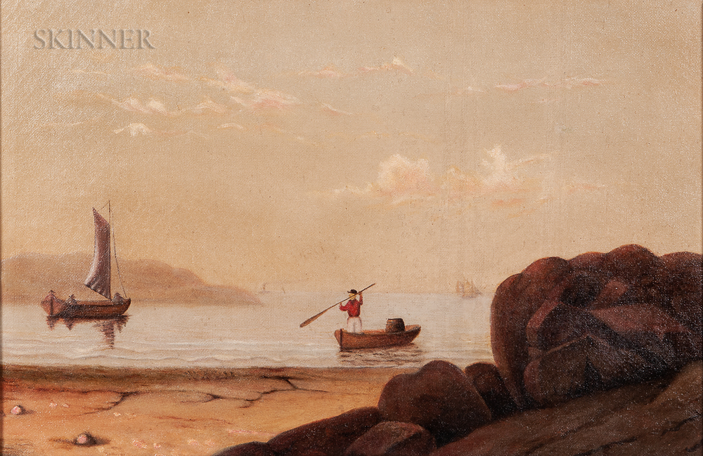 Mary Blood Mellen (American, 1817-1882)      Boats in Gloucester Harbor