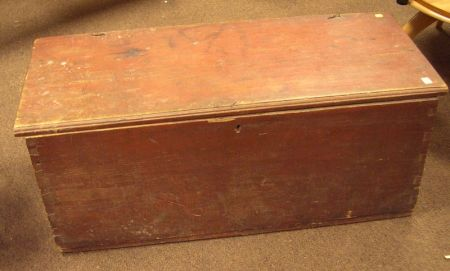 Red Painted Dovetail Constructed Six-Board Sea Chest.