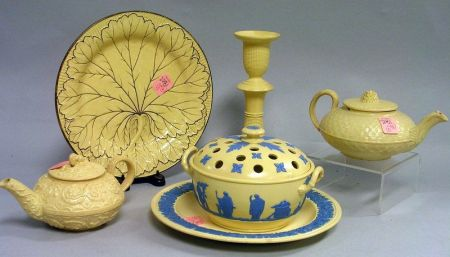 Wedgwood Caneware Potpourri, a Dish, Two Teapots, Candlestick, and a Plate.