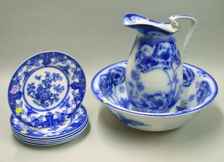 Royal Doulton Flow Blue Norbury Pattern Chamber Pitcher and Basin and a Set of Six Meakin Flow Blue Plates....
