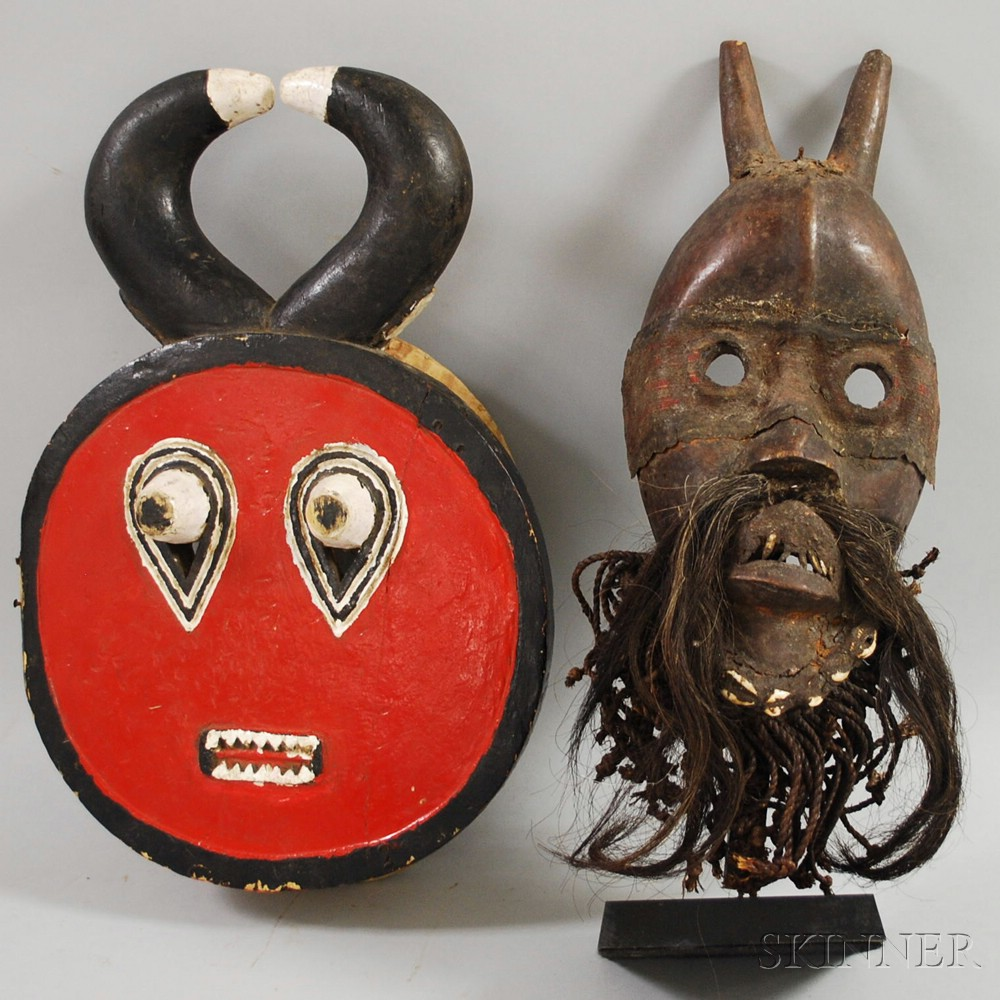 Two African-style Wooden Masks