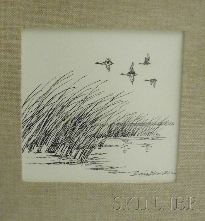 Eric (E. J. Hinrichs) Sloane  (American, 1905-1985)      A Skein of Ducks in Flight Over a Marsh.