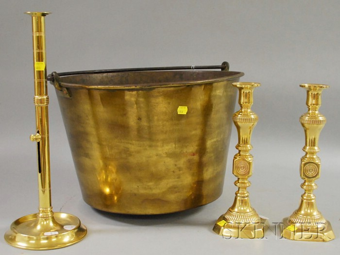 Large Brass Kettle and Three Brass Candlesticks