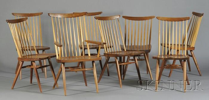 """Eight George Nakashima (1905-1990) """"New"""" Chairs"""