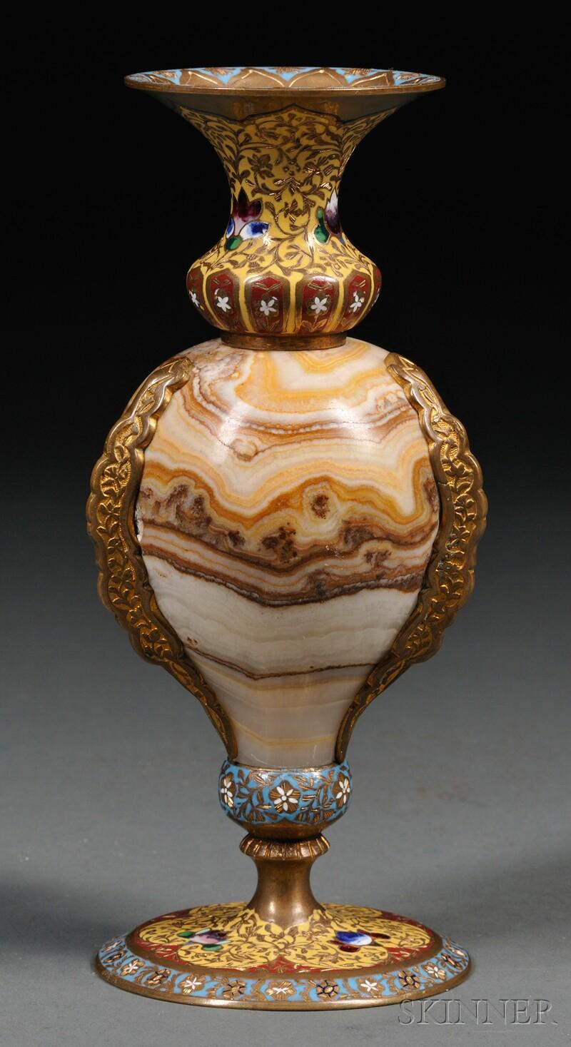 Champleve-mounted Onyx Vase