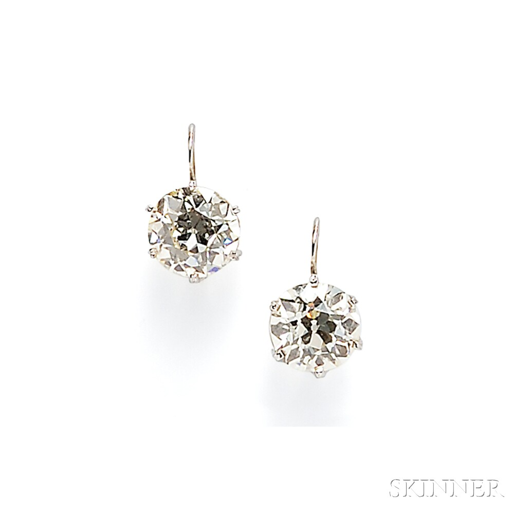 Old Mine-cut Diamond Earpendants