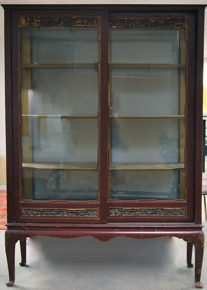 Asian-style Carved and Red-painted Glass Display Cabinet