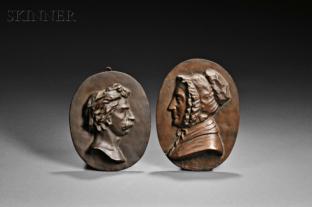 William Morris Hunt (American, 1824-1879)      Two Oval Bas Relief Portrait Plaques: Thomas Couture