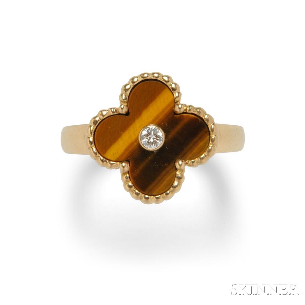 "18kt Gold, Tiger's-eye Quartz, and Diamond ""Alhambra"" Ring, Van Cleef & Arpels"