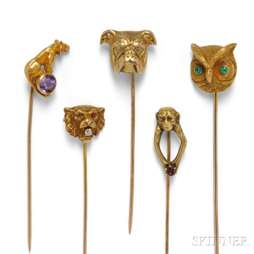 Group of Five Stickpins