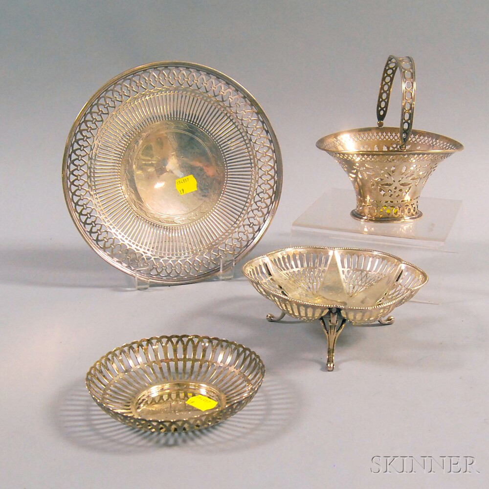 Four Pieces of Pierced Sterling Silver Tableware