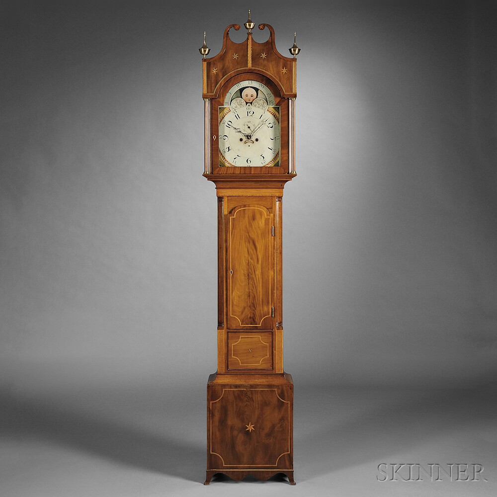 Elaborately Inlaid Mahogany Tall Clock