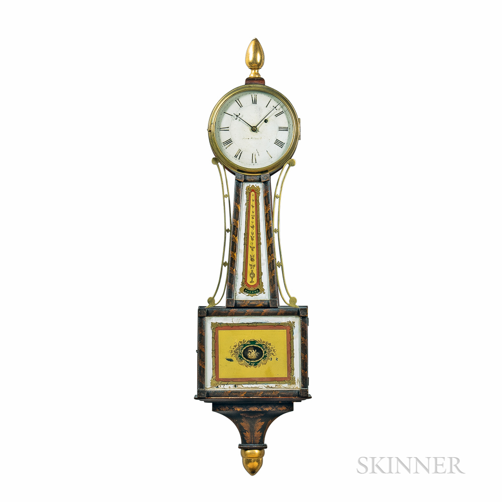 "Simon Willard & Co. Stenciled-front Patent Timepiece or ""Banjo"" Clock"