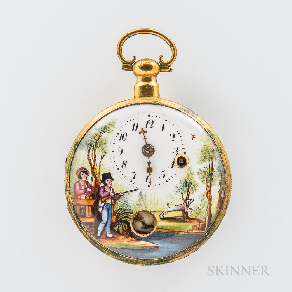 Painted Porcelain Dial Open-face Watch