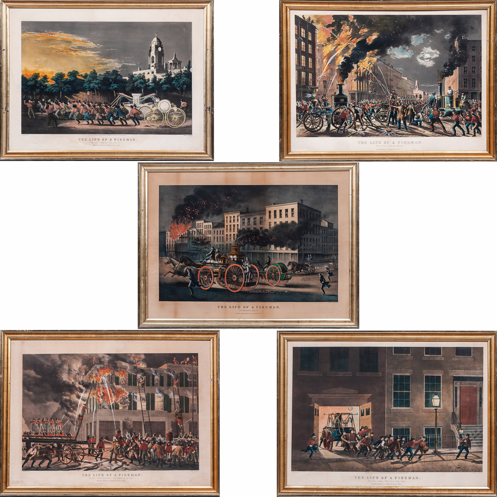 Set of Five Nathaniel Currier Large Folio The Life of a Fireman   Lithographs
