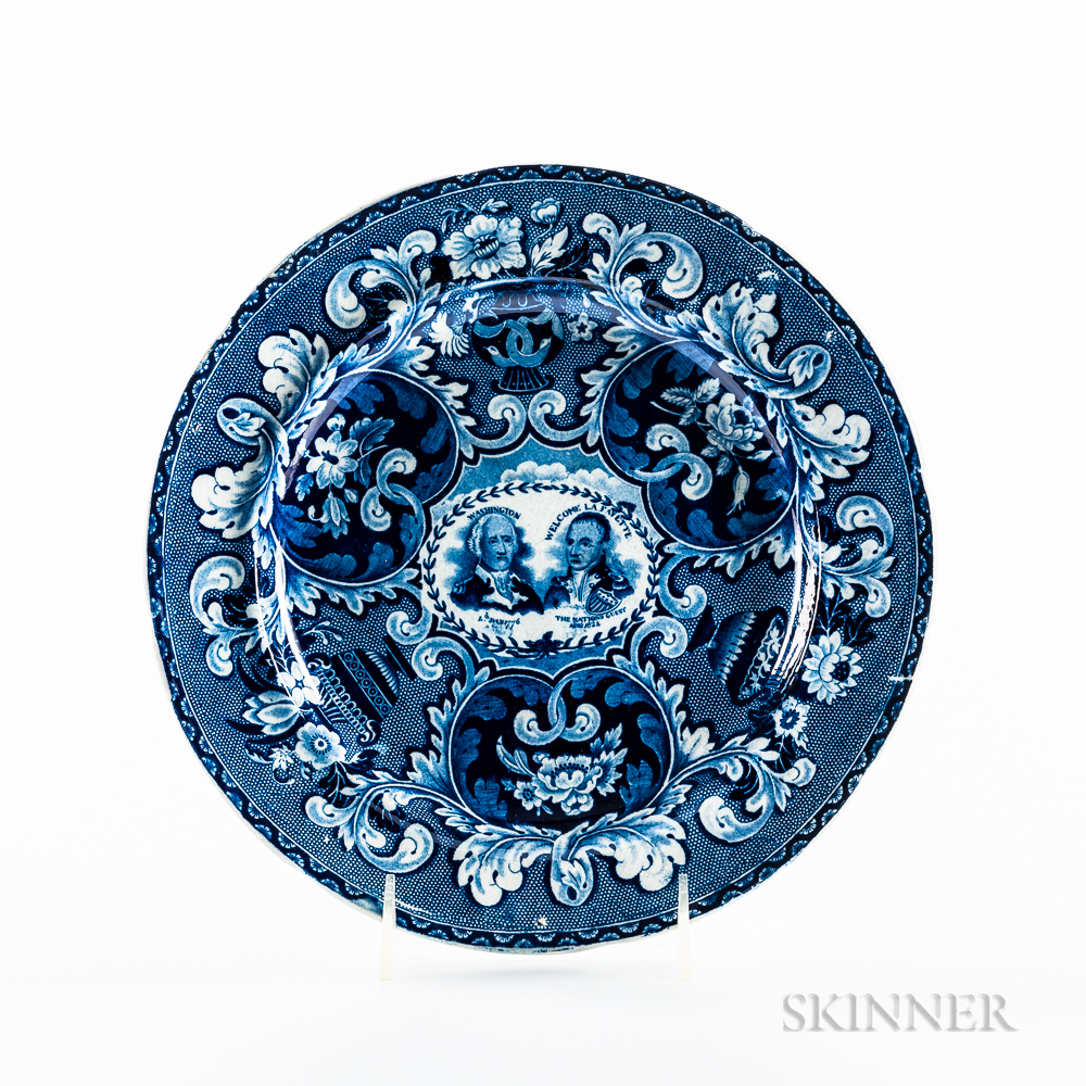 Staffordshire Historical Blue Transfer-decorated Washington and Lafayette Plate
