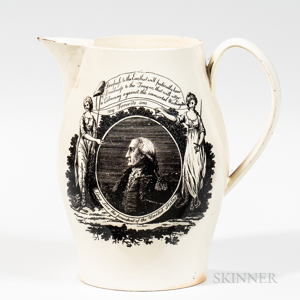 """Liverpool Transfer-decorated George Washington """"Long Live the President of the United States"""" Jug"""
