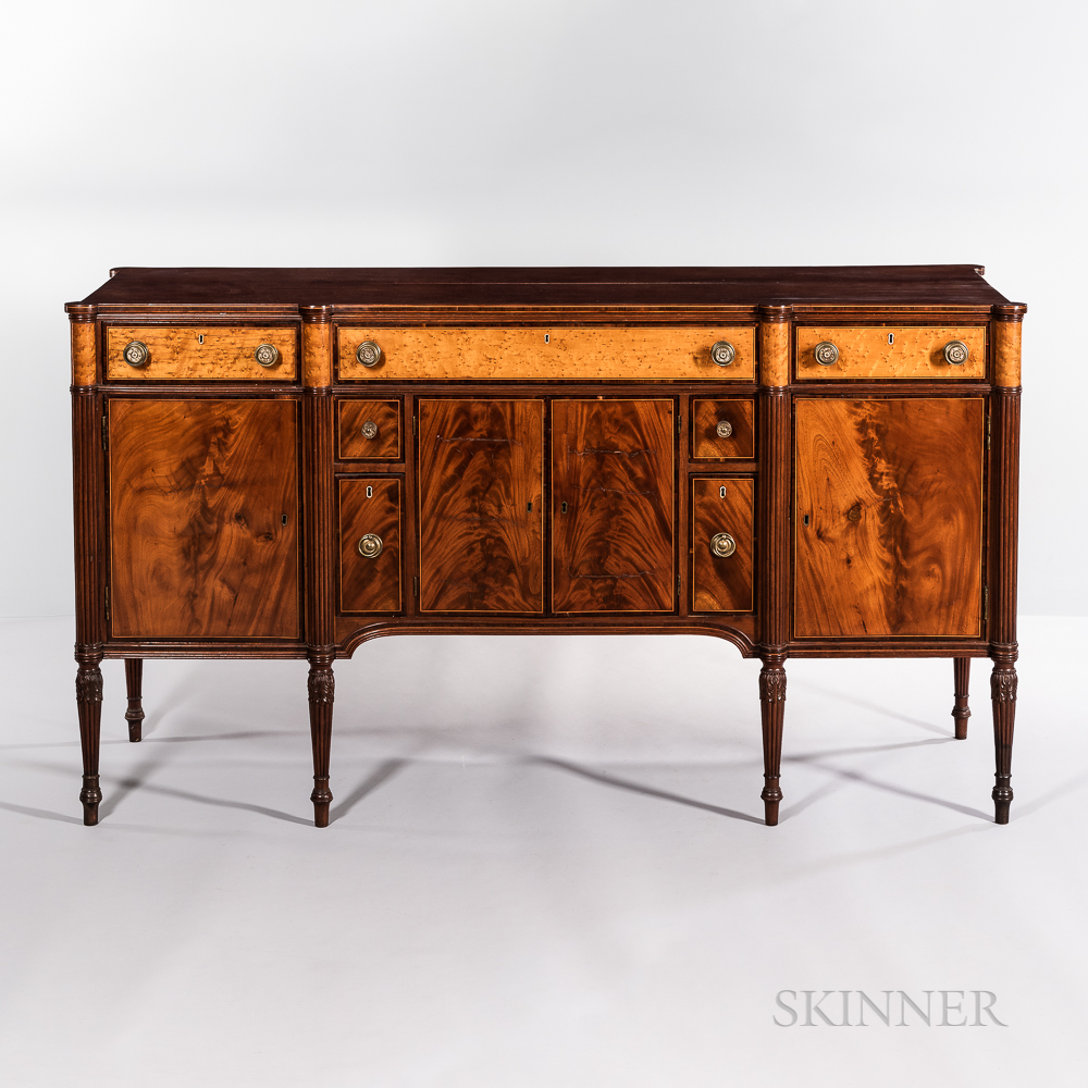 The William Phillips Family Federal Carved Mahogany and Mahogany and Bird's-eye Maple Veneer Inlaid Sideboard