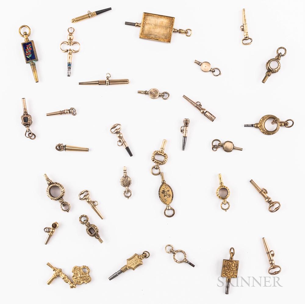 Thirty-one Gilt Watch Keys