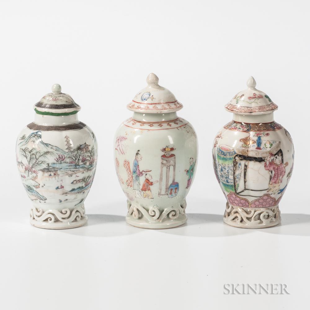Three Export Porcelain Jars
