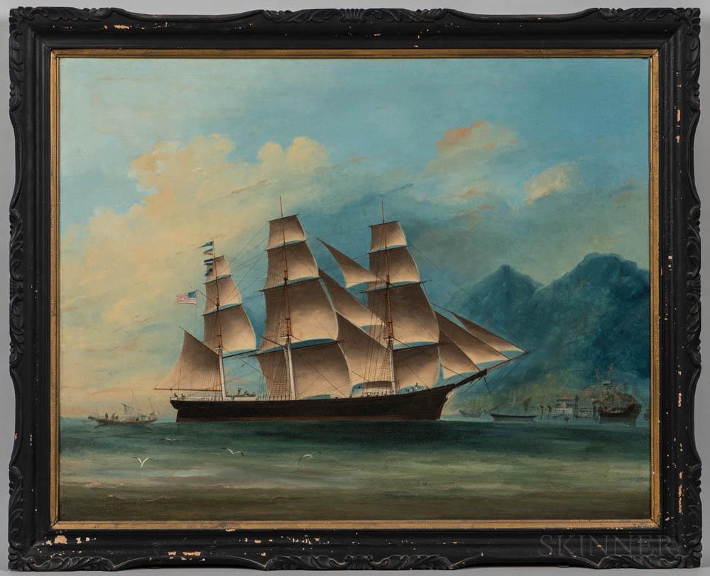 Ye Chung (China, act. Mid-19th Century)      Portrait of the Clipper Ship Sancho Panza   off Hong Kong