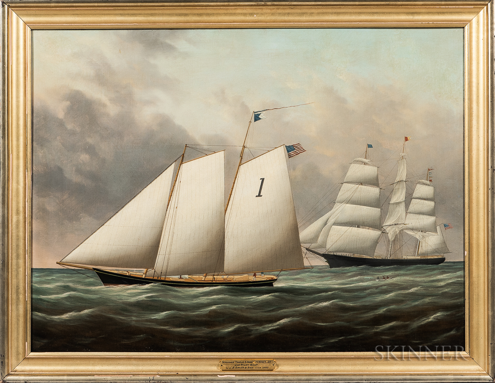 Joseph B. Smith and William S. Smith (American, 19th Century)      Schooner Thomas S. Negus off New York and Pilot Boat
