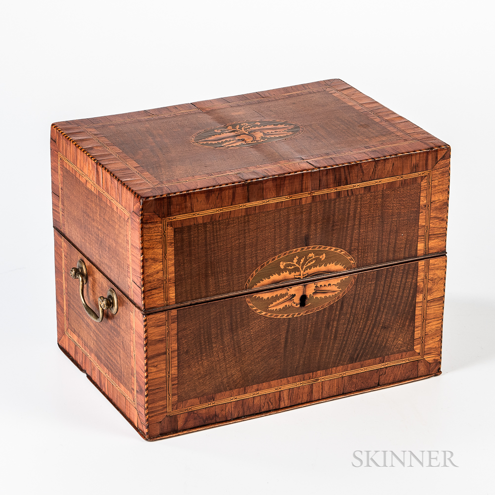 Small Inlaid Mahogany Liquor Chest