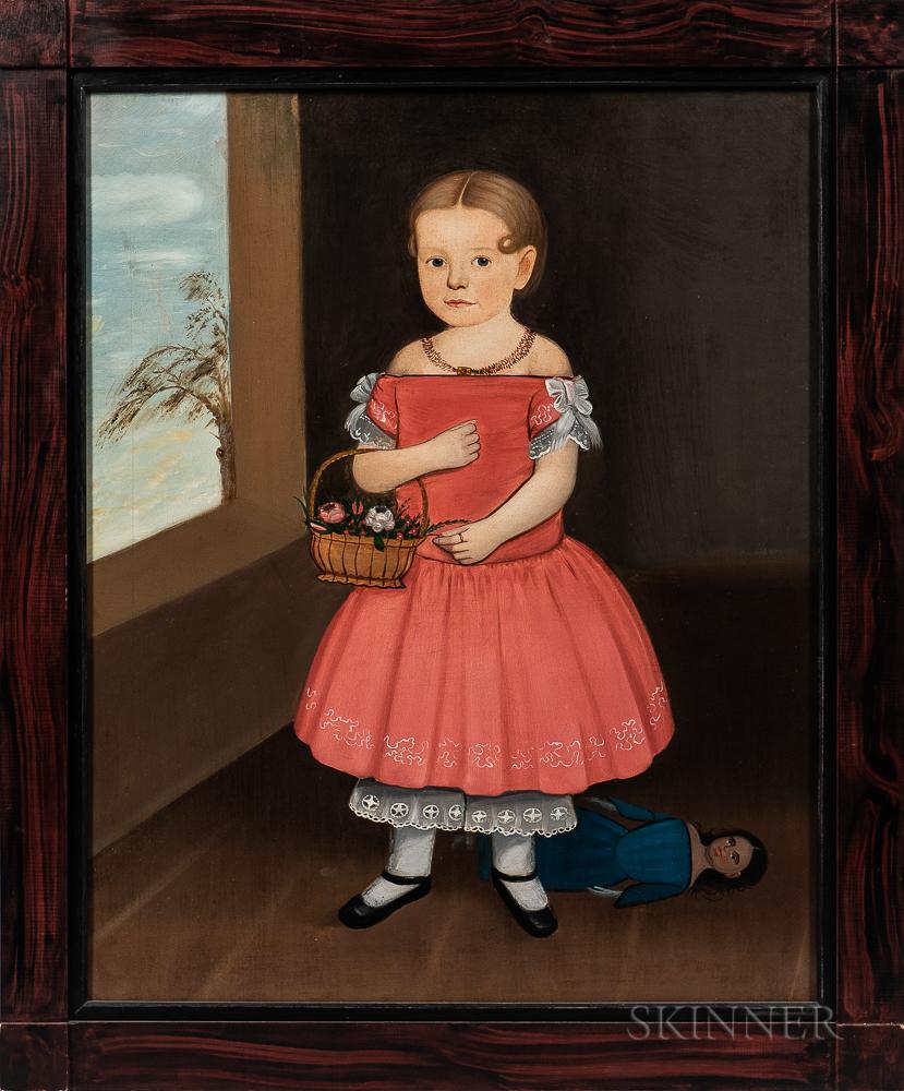 American School, Mid-19th Century      Folk Portrait of Girl in a Red Dress