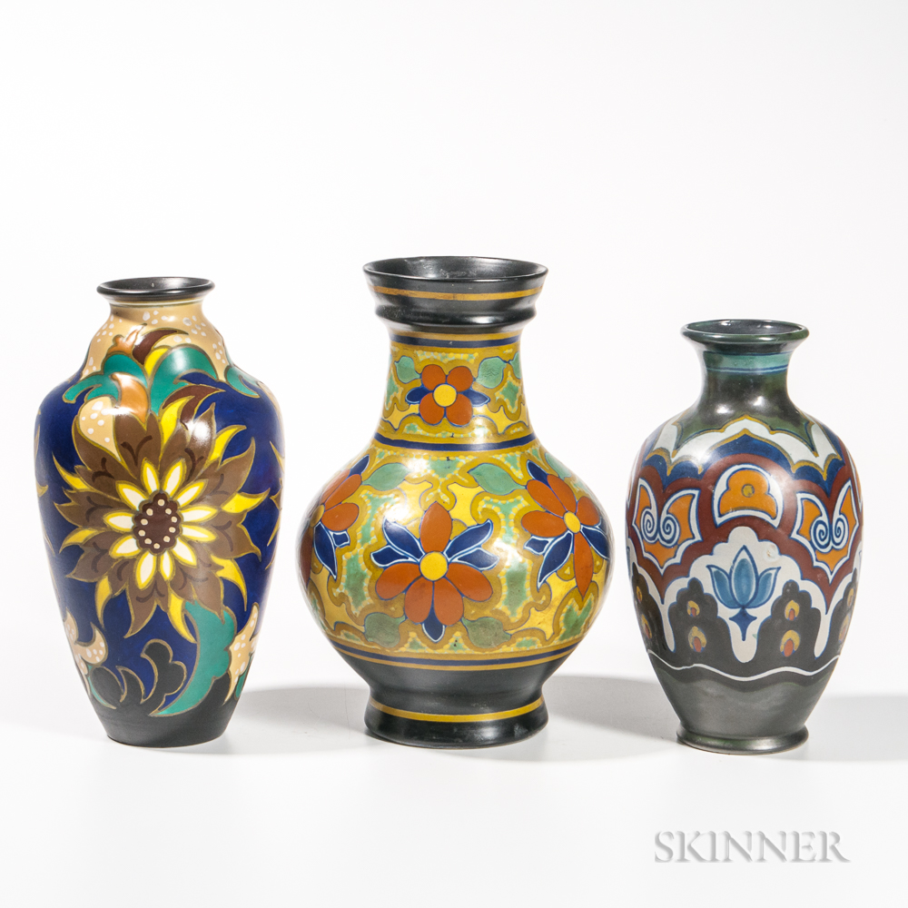 Three Gouda Pottery Floral-decorated Vases