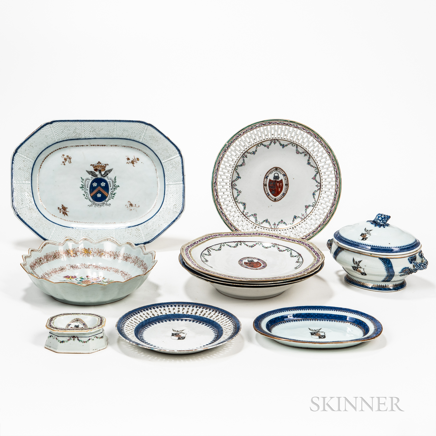 Eleven Armorial Export Porcelain Table Items