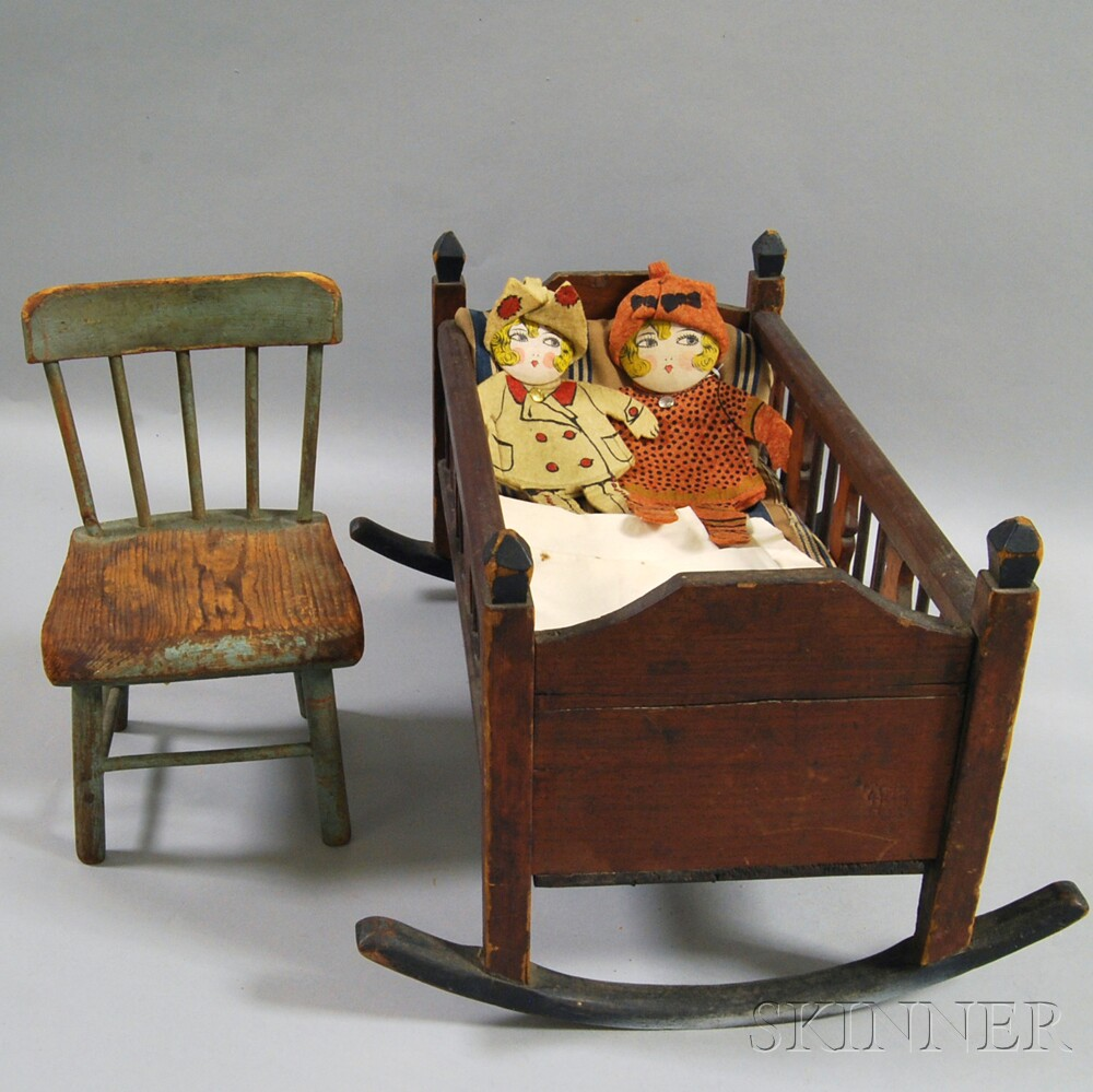 Two Paint-decorated Doll-form Felt Pockets and Two Pieces of Doll Furniture