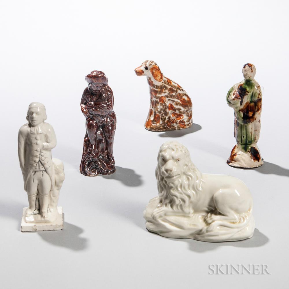 Five Early Staffordshire Earthenware Figures