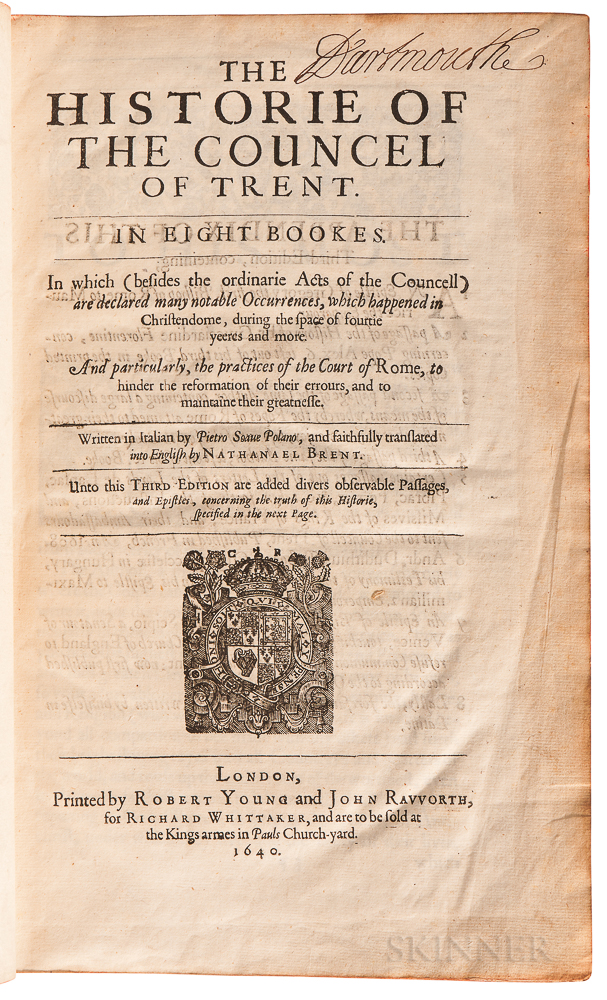 Sarpi, Paolo (1552-1623), trans. Nathaniel Brent (1573?-1652) The Historie of the Councel of Trent, in Eight Bookes.