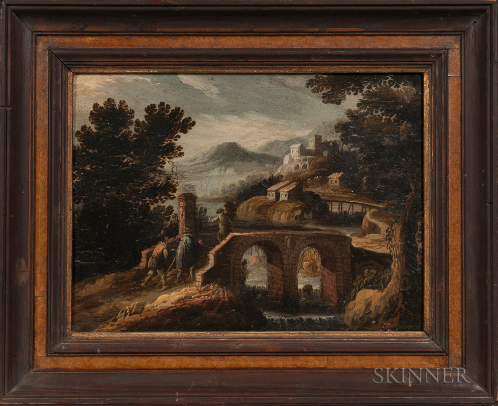 Flemish School, 17th Century Style      Italianate Landscape with Travelers Approaching a Bridge