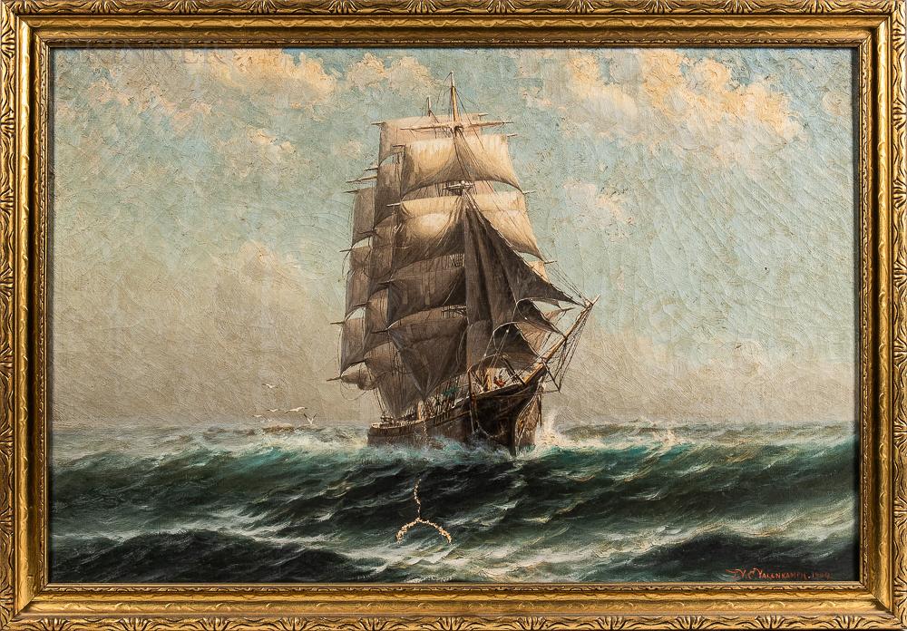 Theodore Victor Carl Valenkamph (Swedish/American, 1868-1924)      Sailing the High Seas