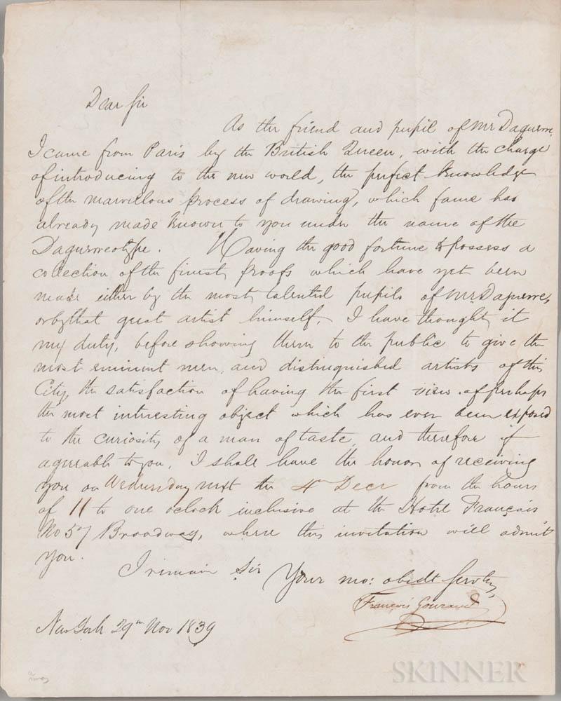 Gouraud, Francois Fauvel (1808-1847) Letter Signed, 29 November 1839.