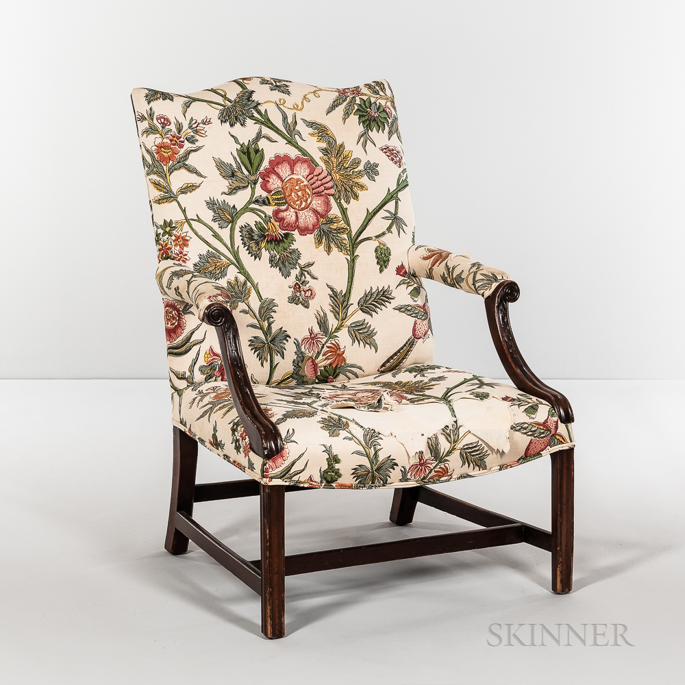 Chippendale Upholstered Open Armchair