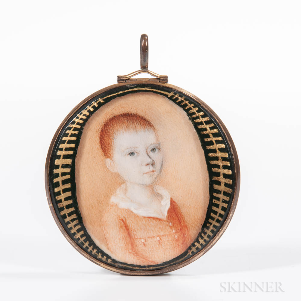 American School, Early 19th Century      Portrait Miniature of a Red-haired Boy