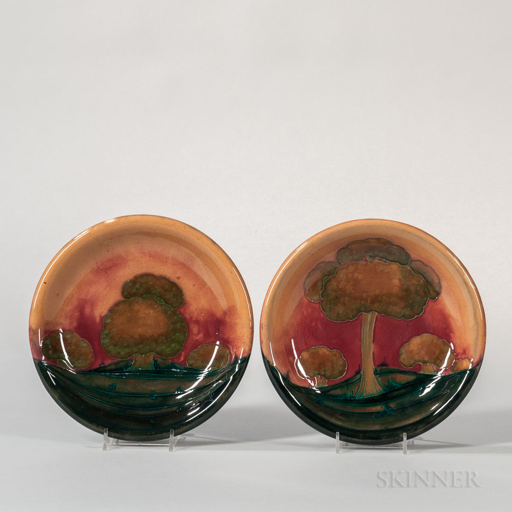 Pair of Moorcroft Eventide Plates