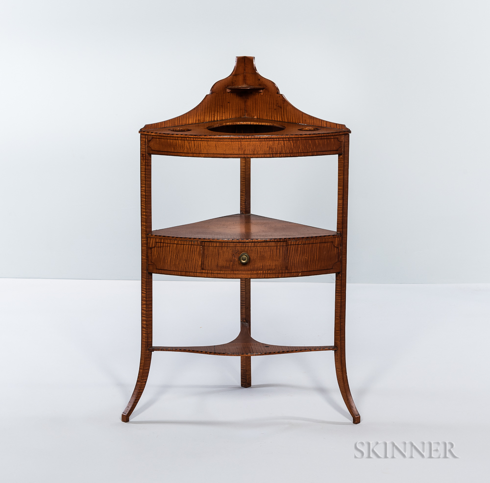 Federal Inlaid Tiger Maple Bow-front Corner Washstand