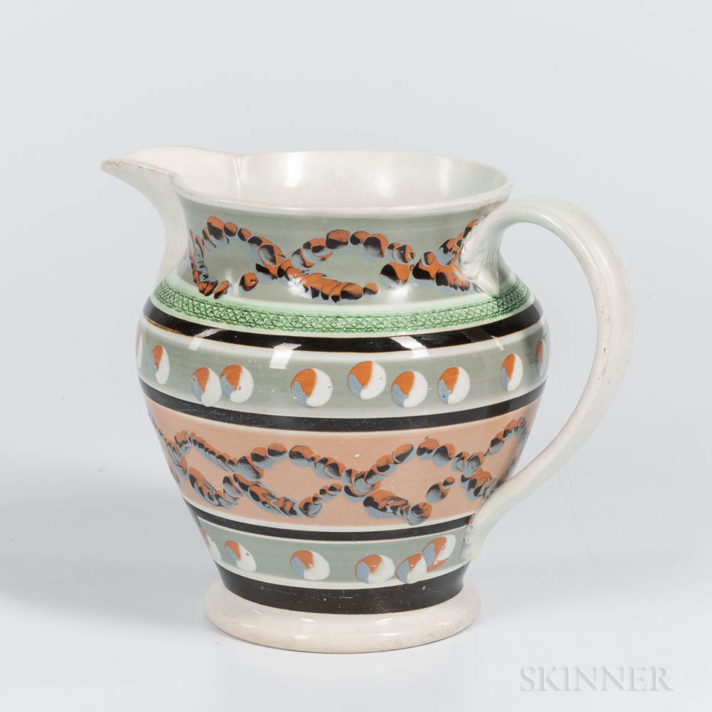 Cable- and Cat's-eye Slip-decorated Jug